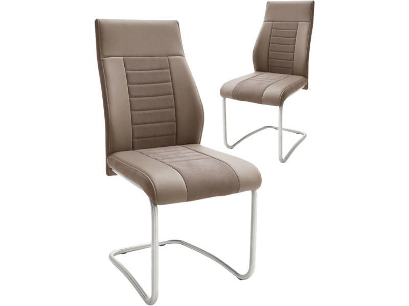 2 polyester design de avec tissu chaises et Lot en marron rdCexoB