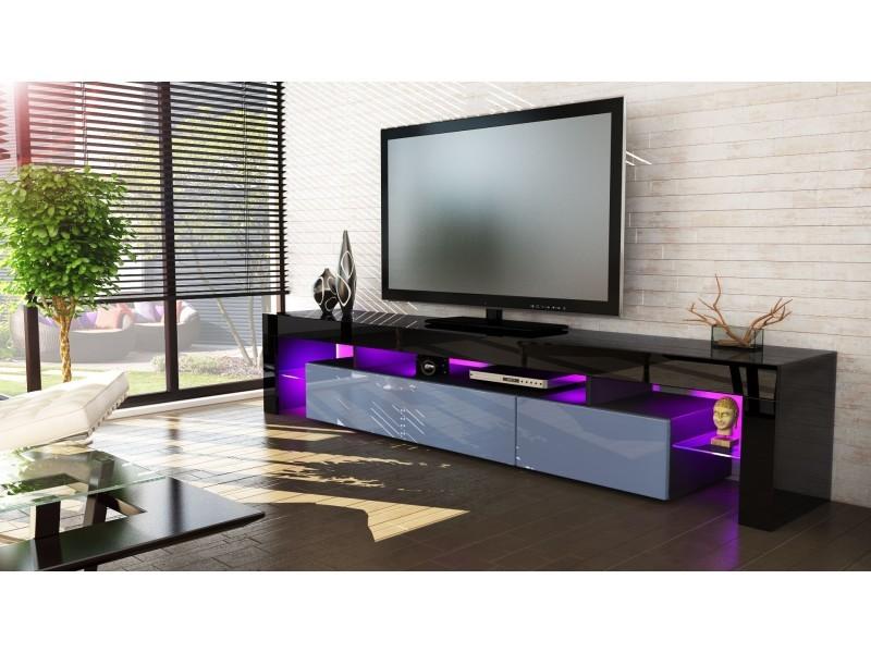 Meuble tv noir et gris189 cm avec led