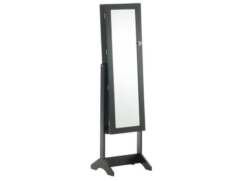 Armoire à Bijoux Avec Miroir Coloris Noir 147 X 42 X 36 Cm