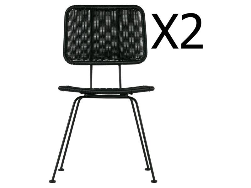 Lot de 2 chaises de jardin en métal coloris noir - dim : h 87 x l 47 x p 65 cm -pegane- PEGANE