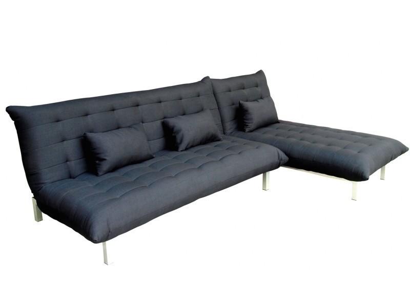 Canape D Angle Design Modulable Convertible Tissu Noir Megane
