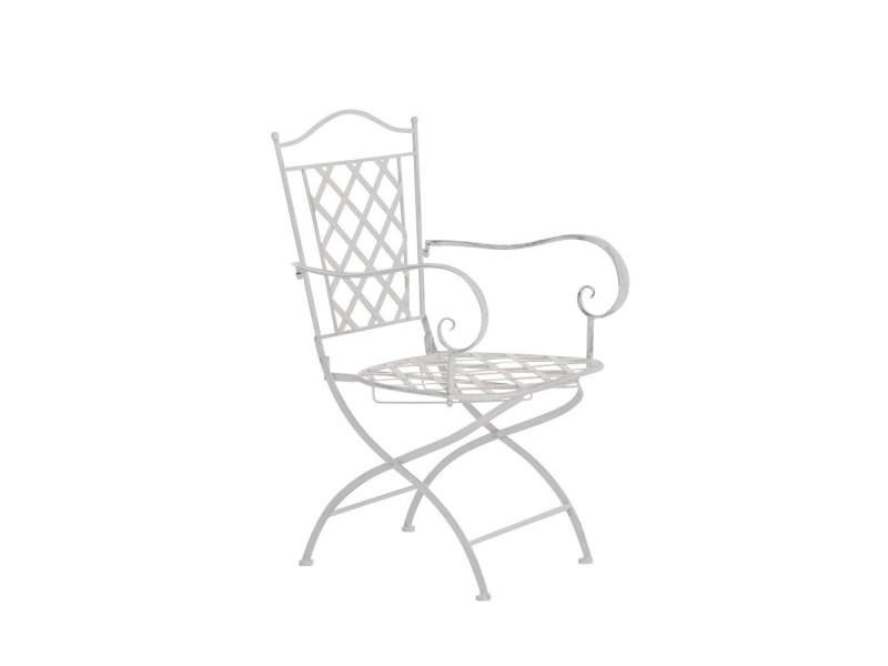 Chaise de jardin adara en fer forgé , blanc antique