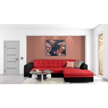 Justyou Fortuna Canape D Angle Noir Rouge Conforama