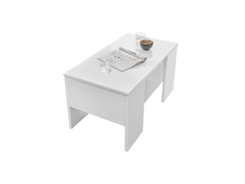 Table basse relevable design blanc laqué brillant l92 cm como