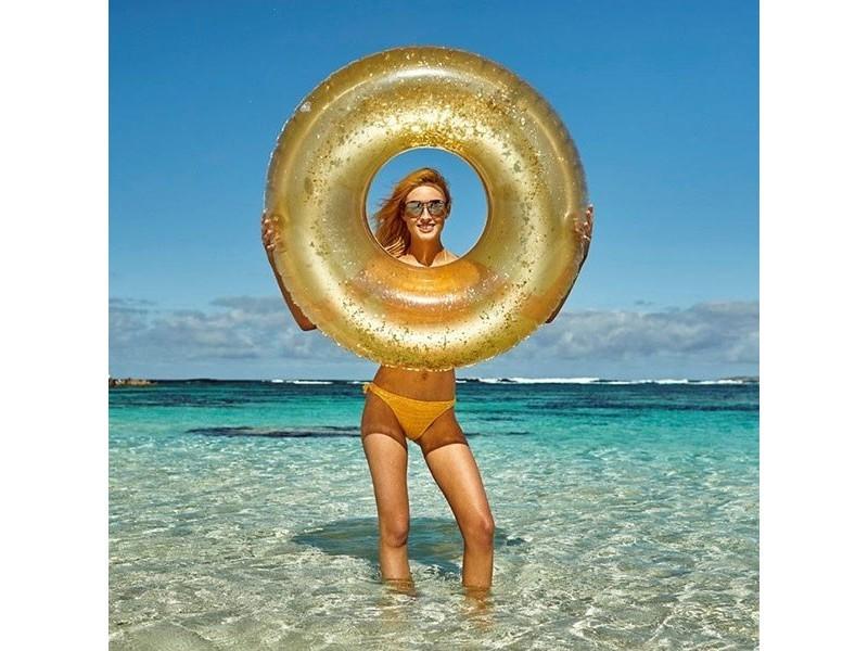 Bouée gonflable brillante piscine et mer 90 cm couleur - argenté