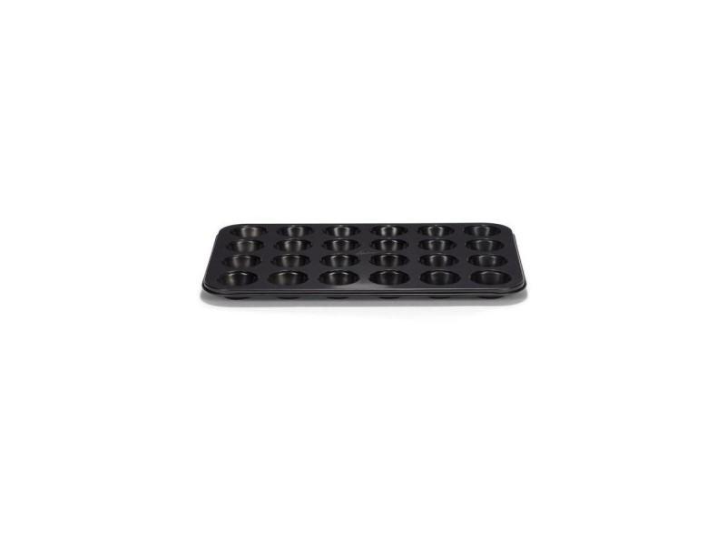 Plaque a muffins antiadhésif en acier revetu - 24 cavités - 35x28 cm - noir PAT8712187028938