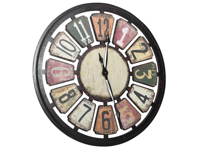 Vidaxl horloge murale multicolore 80 cm mdf 321464
