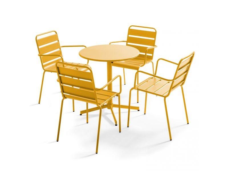 Table de jardin bistrot rabattable ⌀70cm et 4 fauteuils en métal palavas 4 places acier jaune