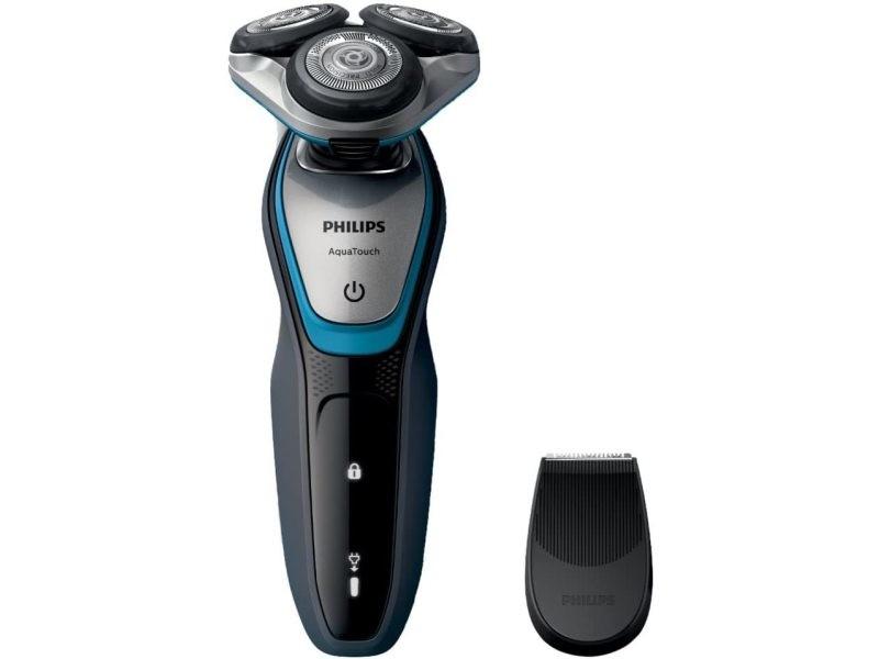 Rasoir électrique rotatif rechargeable étanche et tondeuse sans fil gris noir bleu