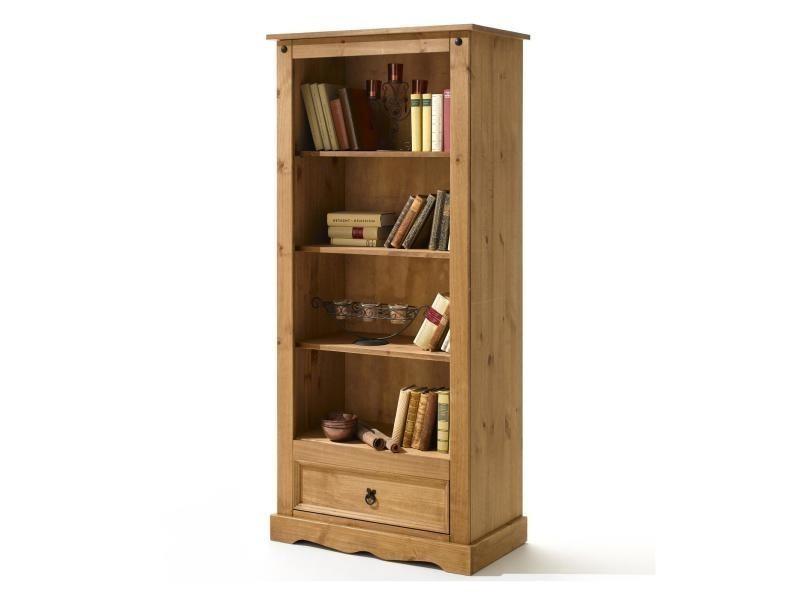 biblioth que tag res style mexicain pin massif finition cir e vente de idimex conforama. Black Bedroom Furniture Sets. Home Design Ideas