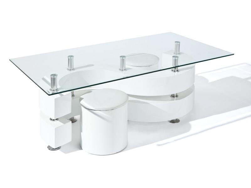 Table basse design salon verre rectangulaire tabourets blanc laqué