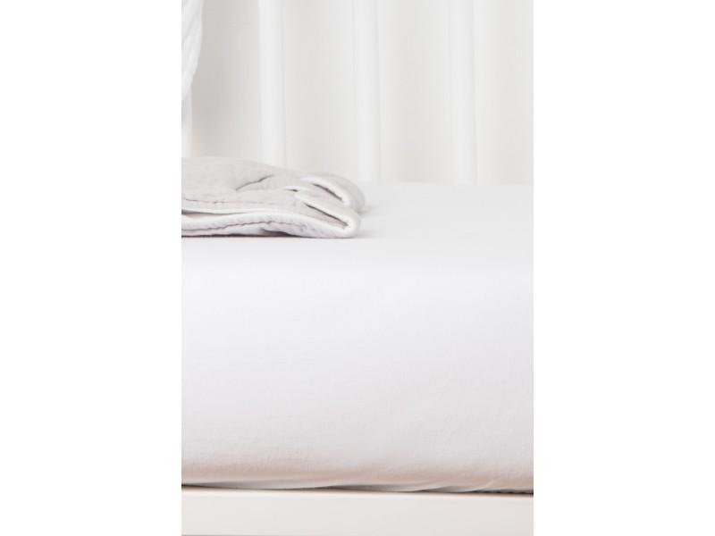 Drap housse coton bio - pour lit bébé blanc 60 x 120 cm