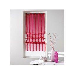 Un store droit à passant - rideau voile sable raye malta rose fushia 45 x 180 cm