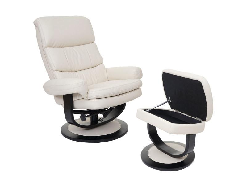 Fauteuil relax turda, fauteuil de télévision, avec tabouret + casier, similicuir ~ crème
