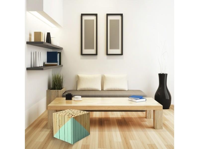 tabouret carr en bois vert d 39 eau vente de the concept factory conforama. Black Bedroom Furniture Sets. Home Design Ideas