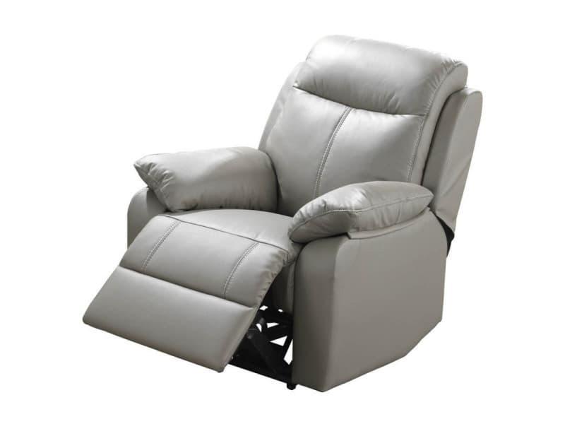 fauteuil relax lectrique cuir gris vyctoire l 88 x l. Black Bedroom Furniture Sets. Home Design Ideas