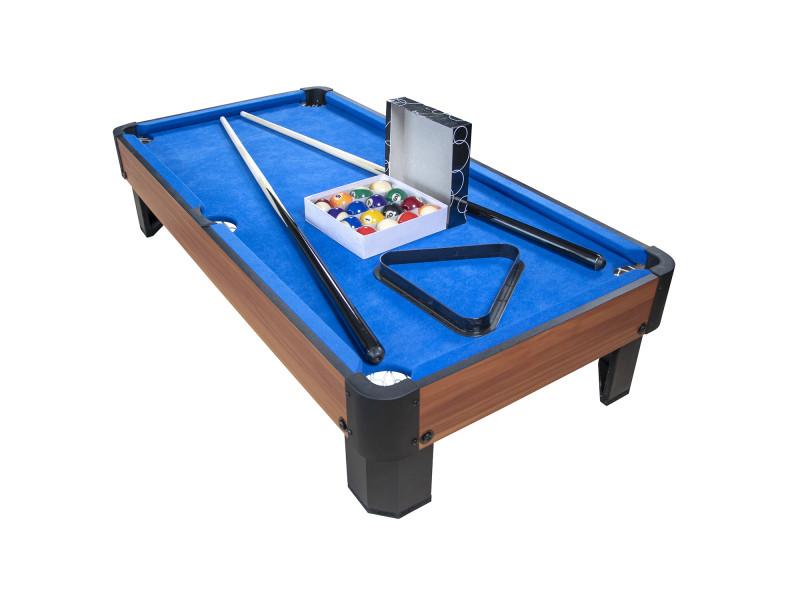 Billard de table avec accessoires - kit billard compact de bureau ou salle de jeu, 102 x 51 x 22.5 cm - marron et tapis bleu
