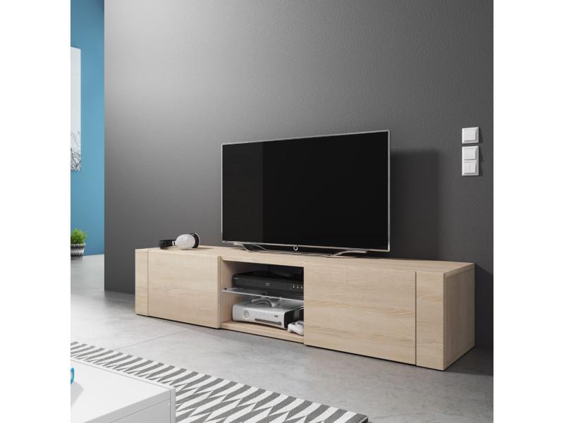 Meuble tv - élégant - 140 cm - effet chêne - sans led