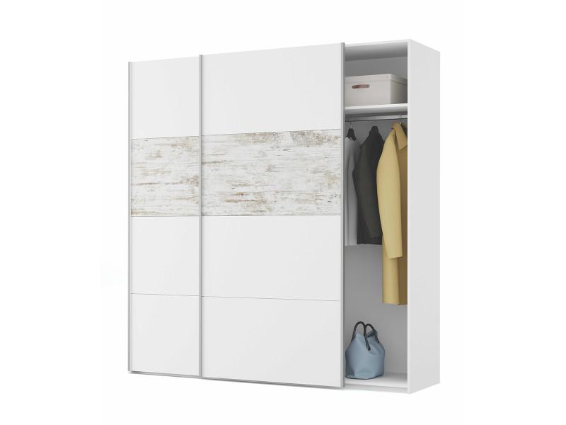Armoire avec 2 portes coulissantes coloris blanc / artic vintage - longueur 180 cm x hauteur 200 cm x profondeur 60 cm