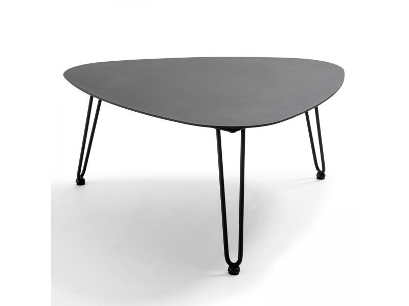 Table basse de jardin 76x74x37cm - atoll aluminium noir