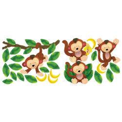 Stickers chambre bébé 4 singes