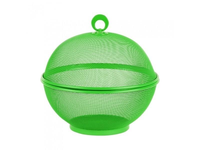 Corbeille en métal vert avec couvercle 26.5 cm