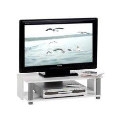 Meuble banc tv design keno blanc et gris