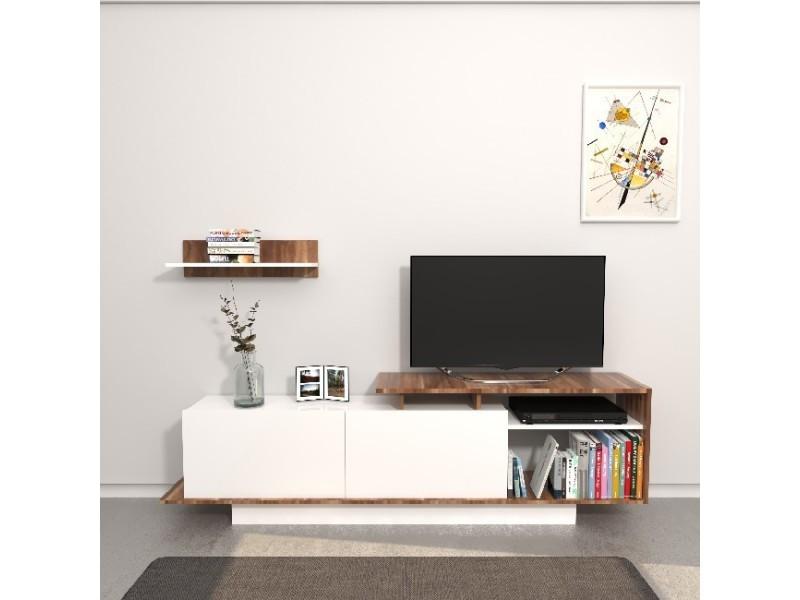 Homemania meuble tv martin - avec portes, étagères - salon - avec tiroirs, étagères - bureau, étude, chambre - avec tiroirs, étagères - salon blanc, bois en panneau de mélamine, 180 x 30 x 53,2 cm