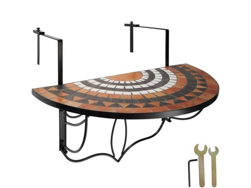 Table de balcon rabattable terracotta/blanc 76 cm helloshop26 2208255