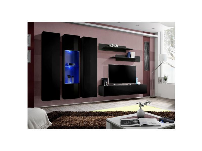 Ensemble meuble tv mural - fly iv - 310 cm x 190 cm x 40 cm - noir