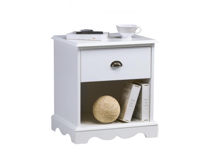 Chevet blanc 1 tiroir de style anglais