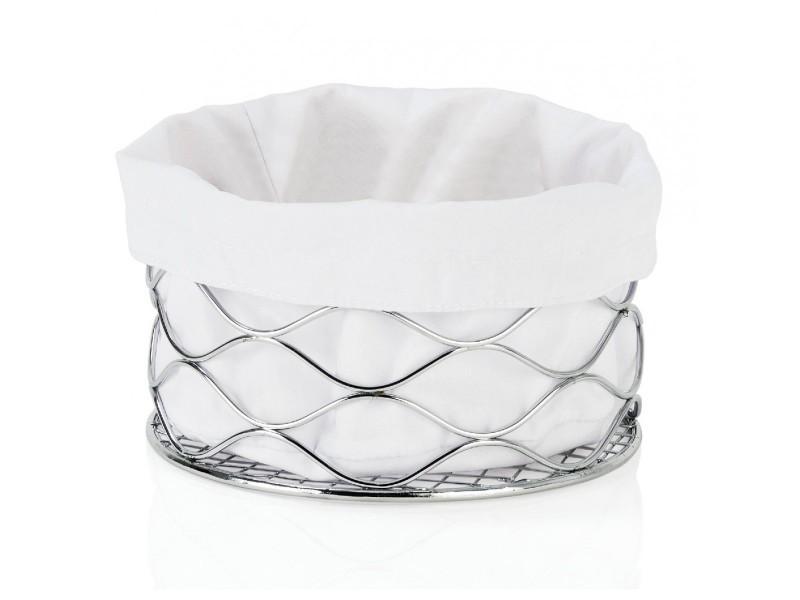 Corbeille à pain design chromée ronde et intérieur coton blanc 'vagues'