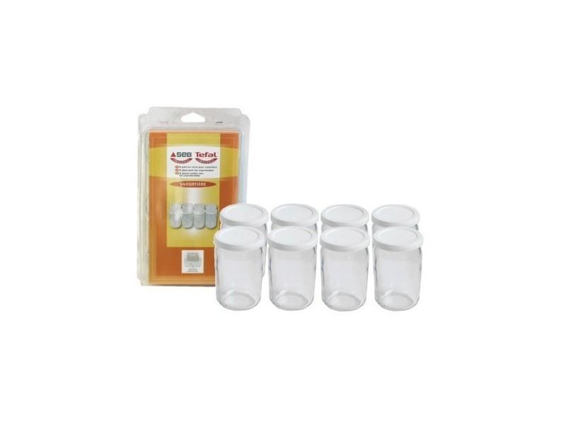 Lot de 8 pots en verre avec couvercles pour yaourtière seb