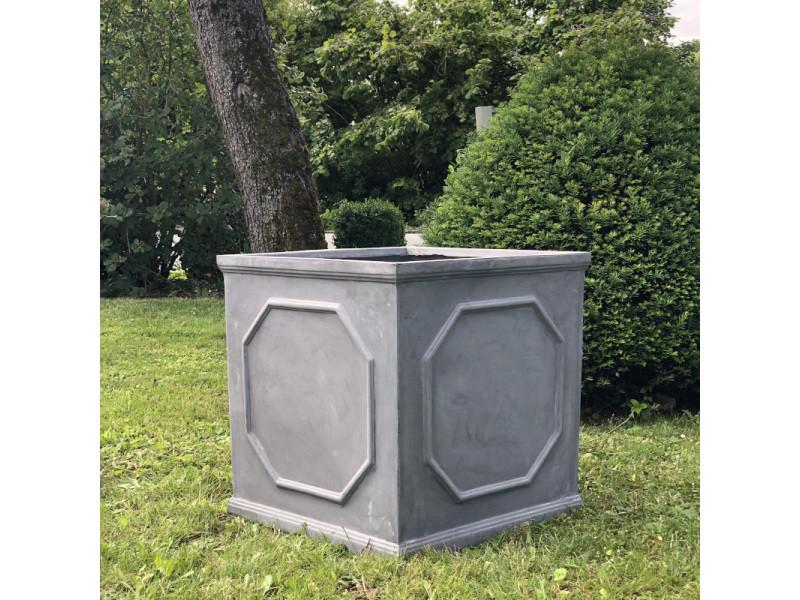 Grand gros style ancien ancienne bac pot jardinière carrée gris plomb vase jardiniere vasque medicis 65 cm x 65 cm