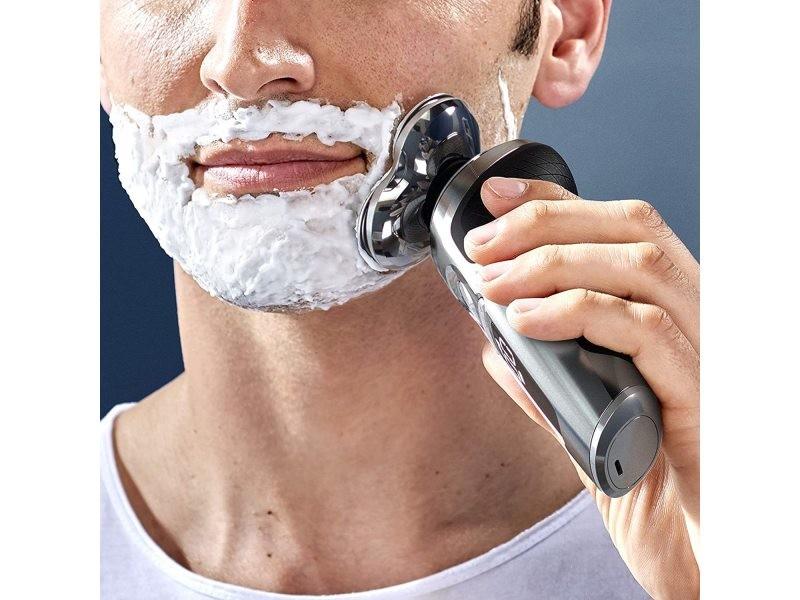 Rasoir électrique rotatif sans fil avec tondeuse barbe gris noir