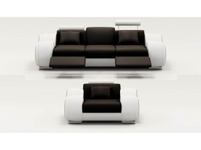 Ensemble cuir relax oslo 3+1 places noir et blanc-