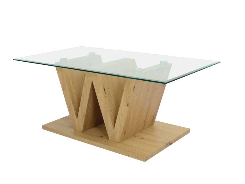 Table basse plateau verre w-type imitation chêne artisan