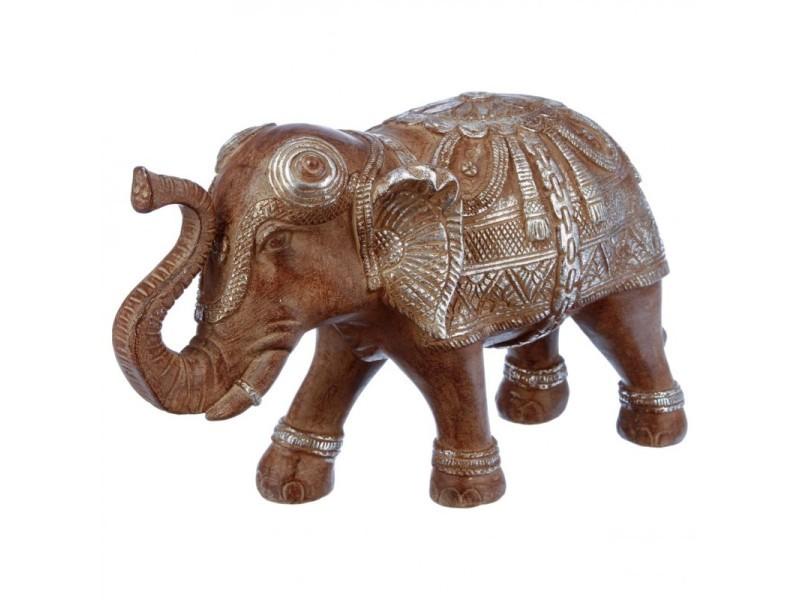 Statuette éléphant en résine 19cm marron