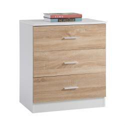 Commode de chambre venus mdf mélaminé 3 tiroirs chêne sonoma et blanc mat