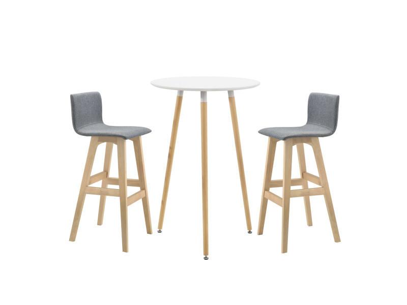 [en.casa] set de table ronde de bar retro design tabouret de bar plateau en mdf cadre en hêtre dossier rembourré siège en textile blanc laqué mat 70 x 107 cm