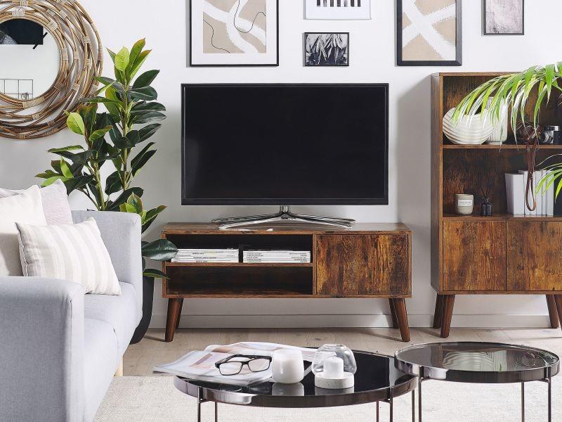 Meuble tv effet bois foncé vanler 232388