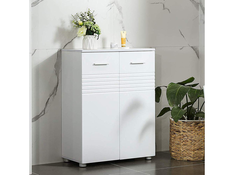 Armoire de rangement salle de bain - pandelic - blanc mat / blanc brillant - Vente de Meuble et ...