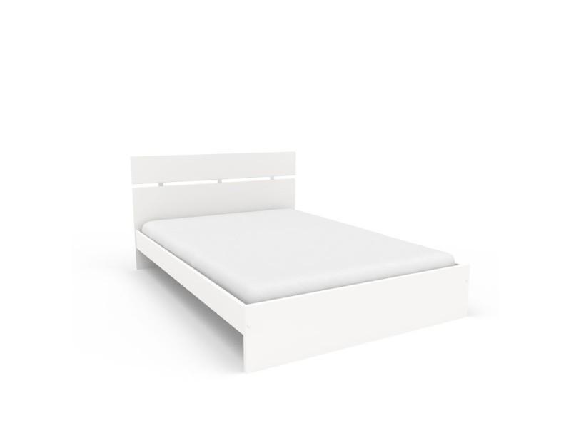 lit adulte cadre t te de lit blanc 140 190 cm lille 140 x 190 vente de lit adulte. Black Bedroom Furniture Sets. Home Design Ideas