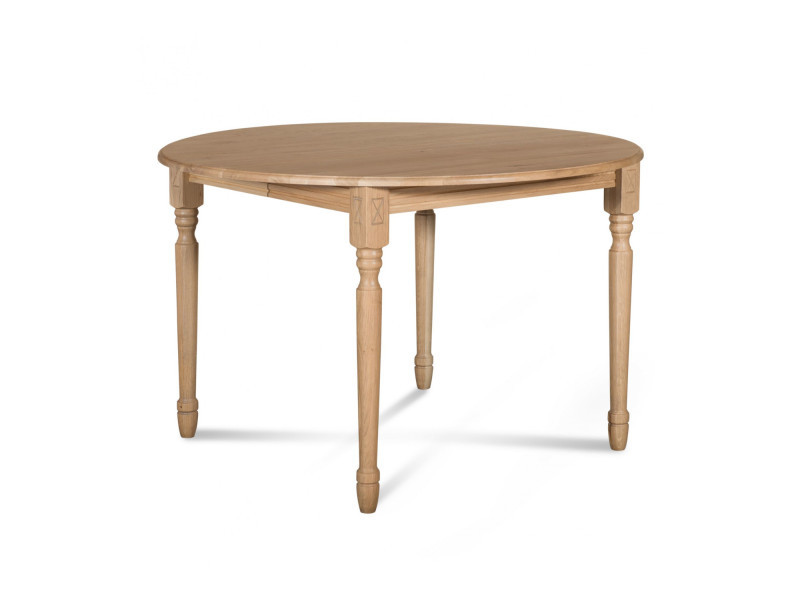 Table extensible ronde bois à rallonges - 115 cm - pieds tournés - victoria