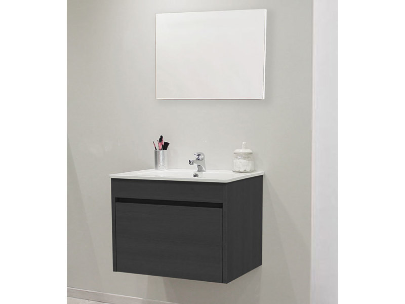 Great Meuble Suspendu Cm Mary Finition Chne Vasque Porcelaine Miroir Vente De Salle De Bain