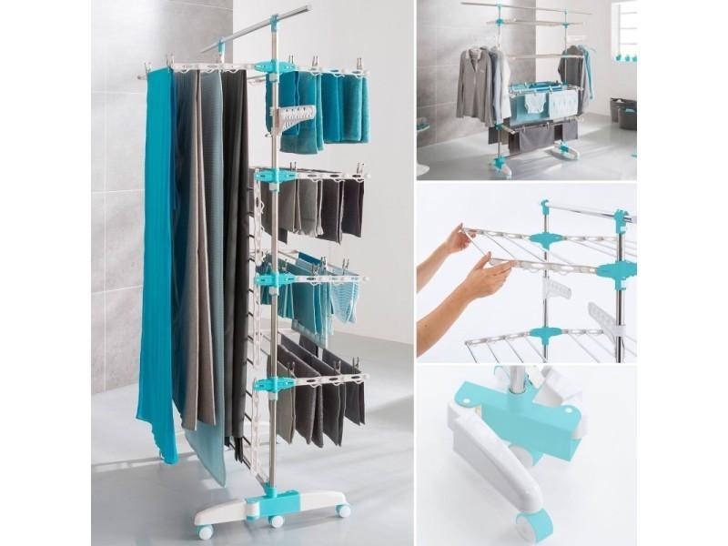 S choir linge 4 niveaux r glables barre t lescopique pour draps vente de id market conforama - Etendoir a linge draps ...