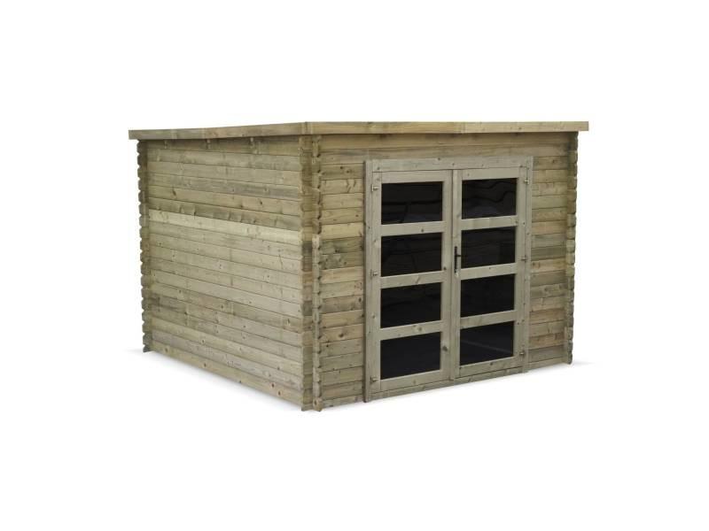Abri de jardin contemporain 3 x 3 m traité autoclave classe 3, tignes en bois fsc de 9,3 m², structure en madriers 28 mm, sapin du nord
