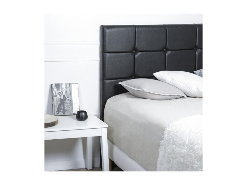 Tete de lit deco capitonnee largeur 160cm hauteur 120cm simili cuir noir