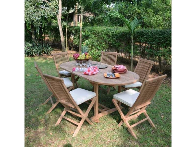 Salon de jardin en teck ecograde manille, table extensible 1.2 à 1,8 ...