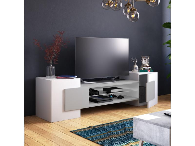 Meuble tv - Gaelin - 160 cm - blanc mat / gris mat